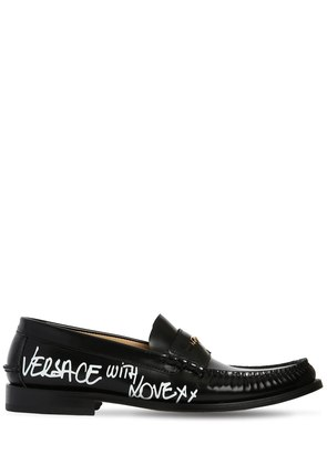 LEATHER LOAFERS W/ GRAFFITI PRINTED LOGO