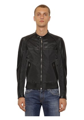 NYLON & NAPPA LEATHER BIKER JACKET