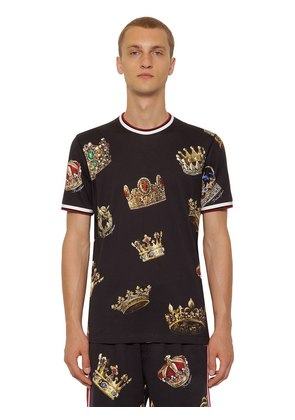 CROWN PRINTED COTTON JERSEY T-SHIRT