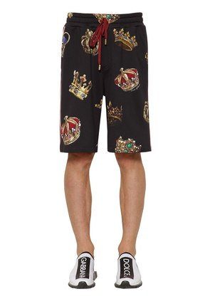 CROWN PRINT COTTON JERSEY SHORTS