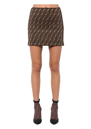 LOGO PRINTED COTTON BLEND JERSEY SKIRT