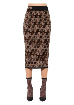 LOGO PRINTED VISCOSE KNIT PENCIL SKIRT