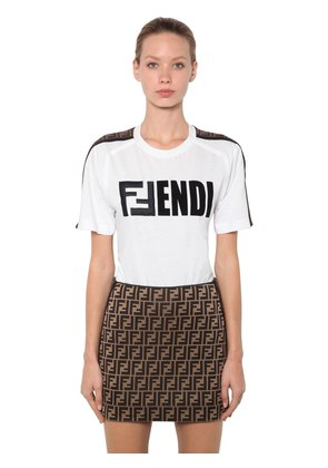 EMBROIDERED LOGO COTTON JERSEY T-SHIRT