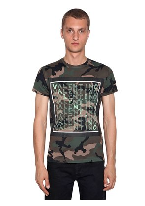LOGO PRINT CAMOUFLAGE COTTON T-SHIRT