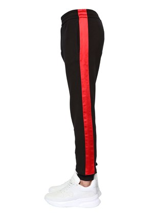 JERSEY TRACK PANTS W/ SATIN SIDE BANDS