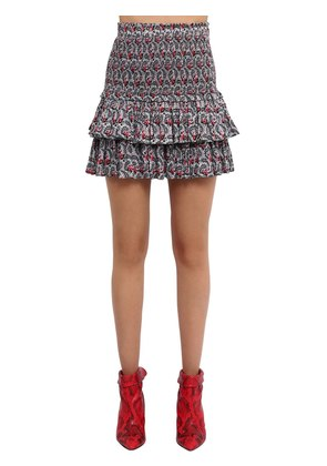PRINTED COTTON VOILE SKIRT W/ RUFFLES