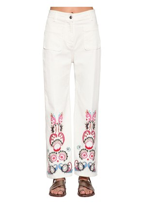 EMBROIDERED WIDE LEG DENIM PANTS