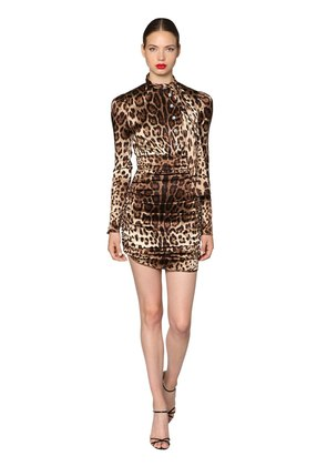 LEOPARD STRETCH SATIN MINI DRESS