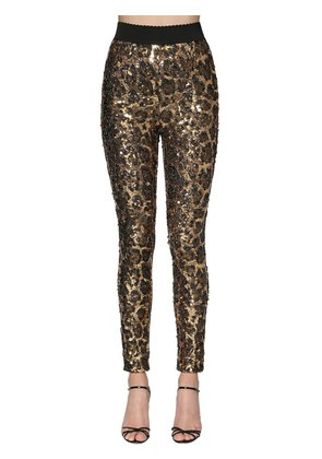LEOPARD SEQUINED LEGGINGS