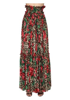 LEOPARD & ROSE CHIFFON LONG SKIRT