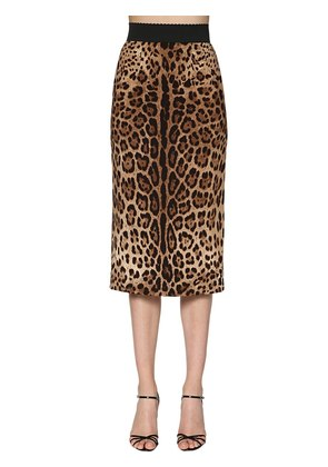 LEOPARD PRINTED STRETCH CADY PENCIL