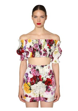 FLORAL PRINTED COTTON POPLIN CROP TOP