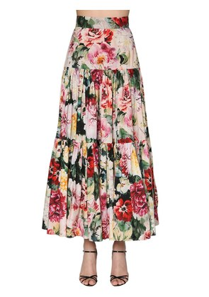 FLORAL PRINT RUFFLED POPLIN LONG SKIRT