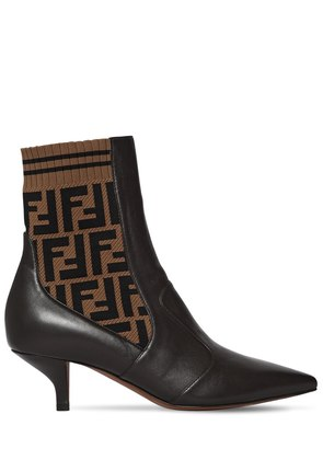55MM LEATHER & KNIT ANKLE BOOTS