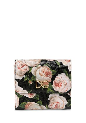 FLORAL PRINT DAUPHINE LEATHER WALLET