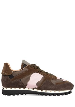 STUDDED SOLE CAMOUFLAGE & SUEDE SNEAKERS