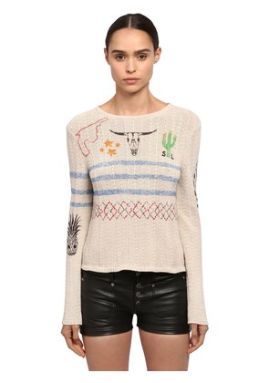 PRINTED CACTUS COTTON KNIT SWEATER