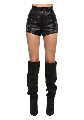 EMBROIDERED HIGH WAIST LEATHER SHORTS