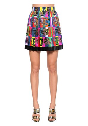 PRINTED SILK TWILL PLEATED SKIRT