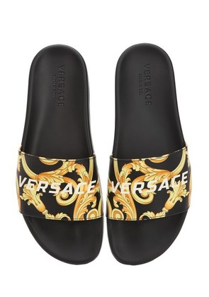 ST.HERITAGE PRINTED LEATHER SLIDE SANDAL