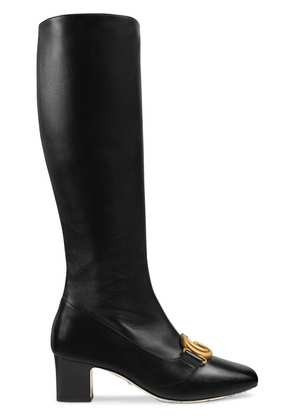 Gucci Leather boot with Double G - Black