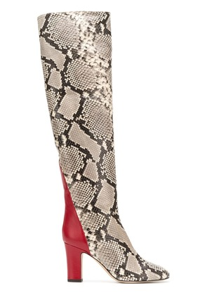 Gia Couture snakeskin over the knee boots - Neutrals