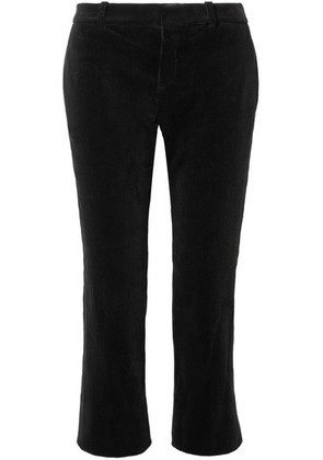 Saint Laurent - Cropped Cotton-corduroy Flared Pants - Black
