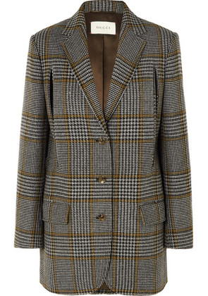 Gucci - Cape-effect Prince Of Wales Checked Wool-blend Blazer - Gray