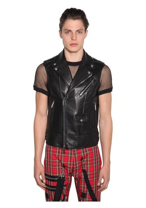 ZIP-UP LEATHER BIKER VEST