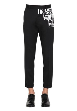 PRINTED STRETCH WOOL CIGARETTE PANTS