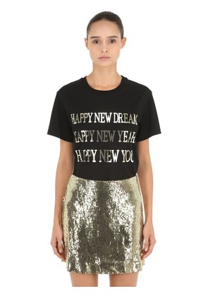 HAPPY NEW YEAR SILK JERSEY T-SHIRT
