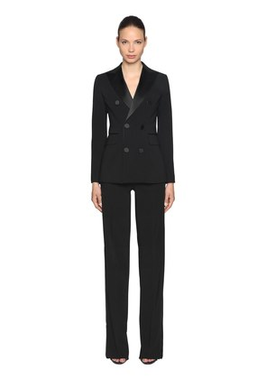 STRETCH WOOL BLEND TUXEDO SUIT