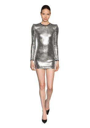LONG SLEEVE SEQUINED DRESS