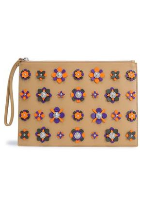 Versus Versace Woman Embellished Floral-appliquéd Leather Pouch Sand Size -