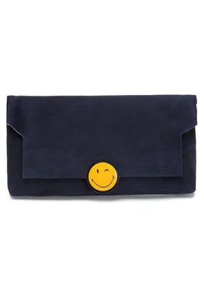 Anya Hindmarch Woman Embellished Suede Clutch Indigo Size -