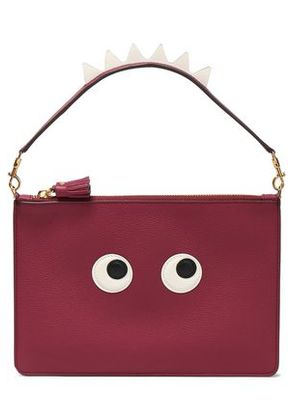 Anya Hindmarch Woman Embellished Leather Clutch Plum Size -