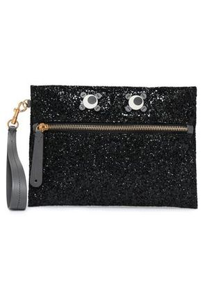 Anya Hindmarch Woman Appliquéd Glittered Pvc Clutch Black Size -