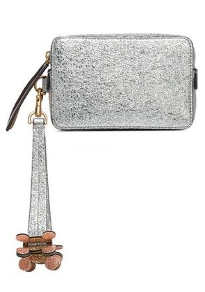 Anya Hindmarch Woman Two-tone Metallic Leather Box Clutch Silver Size -