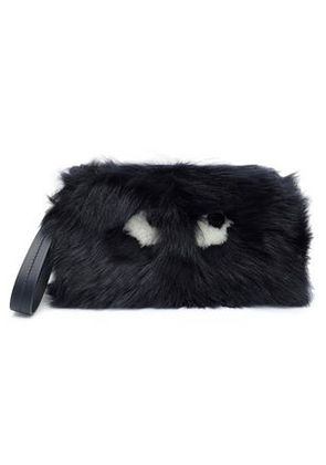 Anya Hindmarch Woman Printed Shearling Clutch Midnight Blue Size -