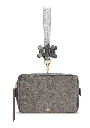 Anya Hindmarch Woman Color-block Metallic Leather Box Clutch Silver Size -
