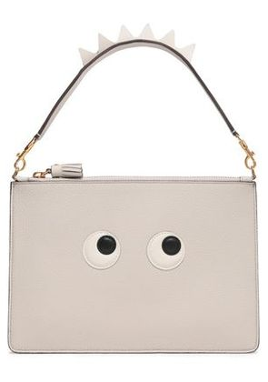 Anya Hindmarch Woman Embellished Leather Clutch Light Gray Size -