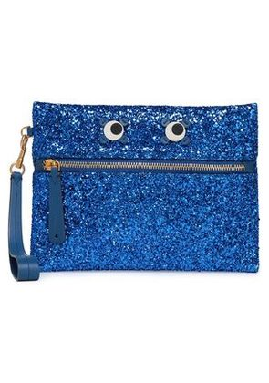 Anya Hindmarch Woman Appliquéd Glittered Pvc Clutch Bright Blue Size -