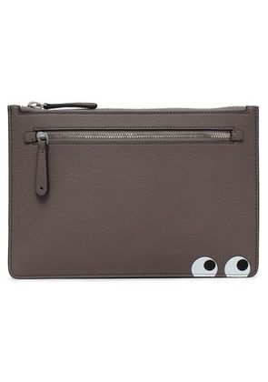 Anya Hindmarch Woman Printed Leather Clutch Taupe Size -