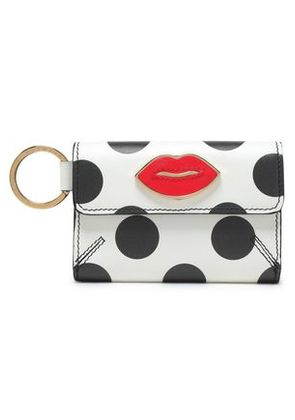 Charlotte Olympia Woman Appliquéd Printed Leather Key Wallet White Size -