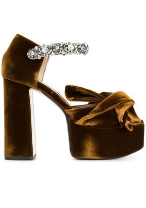 No21 abstract bow embellished platform sandals - Brown