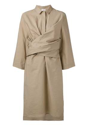 Brunello Cucinelli front wrap midi dress - Neutrals