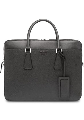 Prada logo top-handle briefcase - Grey