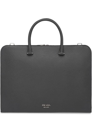 Prada Leather Briefcase - Grey