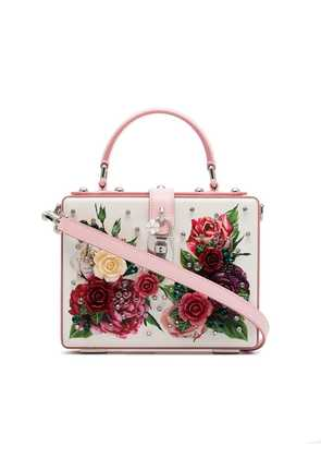 Dolce & Gabbana cream, pink and purple dauphin leather box bag