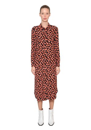 LINDALE PRINTED CREPE MIDI SHIRT DRESS